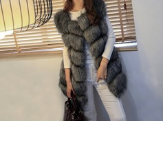 Faux Fur Sleeveless Plain Vest Coats (1004161898)
