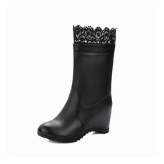 Leatherette Wedge Heel Wedges Mid-Calf Boots With Stitching Lace shoes