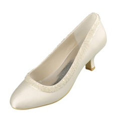 Women's Satin Low Heel Closed Toe Pumps