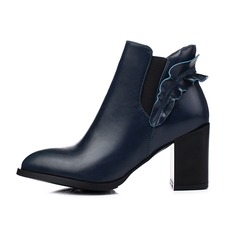 Leatherette Chunky Heel Closed Toe Ankle Boots With Applique shoes