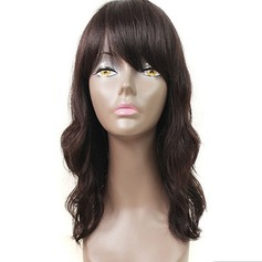 4A Non remy Wavy Human Hair Lace Front Wigs 220g