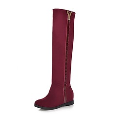 Women's Suede Wedge Heel Knee High Boots shoes