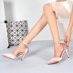 Women's Suede Stiletto Heel Closed Toe Pumps Sandals With Buckle
