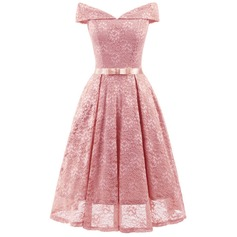 Lace With Lace Knee Length Dress (199166287)