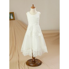 A-Line/Princess Floor-length Flower Girl Dress - Satin/Tulle Sleeveless Scoop Neck With Appliques