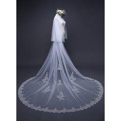 Two-tier Lace Applique Edge Cathedral Bridal Veils With Applique (006125298)