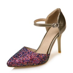 5347ed9c3122e Dla kobiet Skóra ekologiczna Byszczący brokat Obcas Stiletto Czólenka  Zakryte Palce Mary Jane Z Klamra obuwie