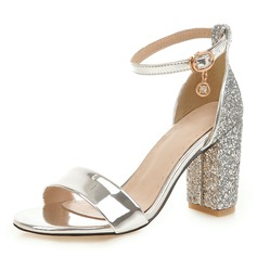 Women's Leatherette Chunky Heel Sandals Pumps Peep Toe With Buckle shoes (087207043)