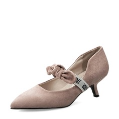 Women's Suede Kitten Heel Closed Toe Pumps MaryJane With Bowknot