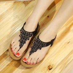 Women's Leatherette Flat Heel Sandals Flats Peep Toe With Rhinestone Elastic Band shoes