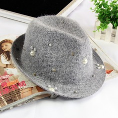 Elegant Cony Hair With Imitation Pearls/Rivet Floppy Hat