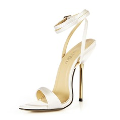 Women's Satin Stiletto Heel Sandals Slingbacks With Buckle shoes (087051963)