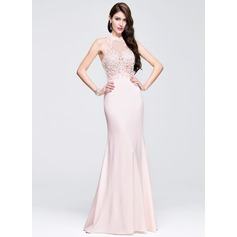 Sheath/Column Scoop Neck Floor-Length Jersey Prom Dress With Beading Appliques Lace Sequins (018075903)