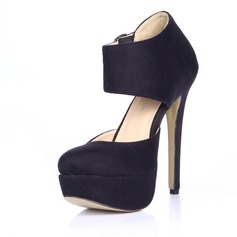 Suede Pumps Closed Toe With Buckle shoes