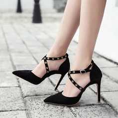Women's Suede Stiletto Heel Pumps Closed Toe With Rivet Buckle shoes