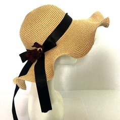 Ladies' Fashion Rattan Straw With Bowknot Floppy Hat/Straw Hat