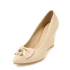 Women's PU Wedge Heel Pumps Closed Toe Wedges With Bowknot shoes