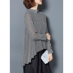 Striped Manches longues Polyester Col à Revers Chemisier Blouses