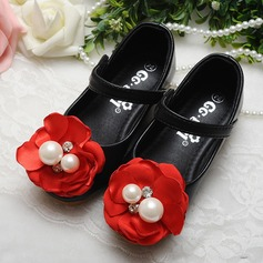 Girl's Leatherette Flat Heel Round Toe Mary Jane Flats With Imitation Pearl Satin Flower Velcro Crystal