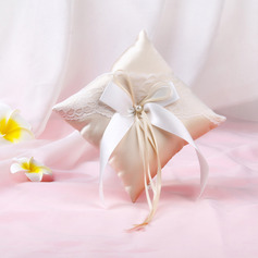 Grace Lace/Cloth Ring Pillow With Ribbons/Bow