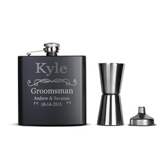 Groomsmen Gifts - Personalized Classic Stainless Steel Flask (258176307)