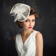 Dames Style Classique Feather/Tulle/Lin avec Feather Chapeaux de type fascinator/Kentucky Derby Des Chapeaux/Chapeaux Tea Party