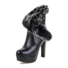 Kvinner Lær PU Stiletto Hæl Pumps Platform Støvler sko
