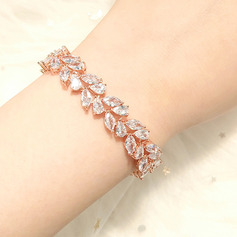 Ladies' Leaves Shaped Copper/Zircon Bracelets (011229743)