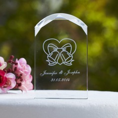 Personalized Double Hearts Crystal Cake Topper