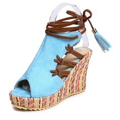المرأة سويدي كعب ويدج صنادل أسافين مع دانتيل أحذية