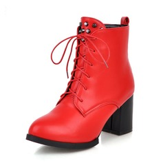 Women's Leatherette Chunky Heel Boots With Ribbon Tie shoes