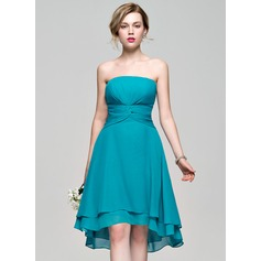 A-Line Strapless Asymmetrical Chiffon Bridesmaid Dress