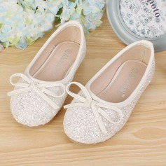 Girl's Leatherette Sparkling Glitter Flat Heel Round Toe Closed Toe Flats With Bowknot