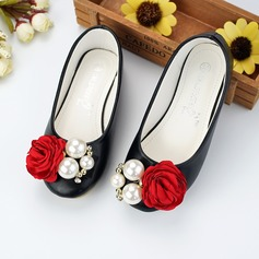 Girl's Closed Toe Microfiber Leather Flat Heel Flats Flower Girl Shoes With Beading Flower
