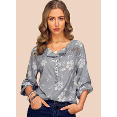 Long Sleeves Chiffon V Neck Blouses (1003223522)