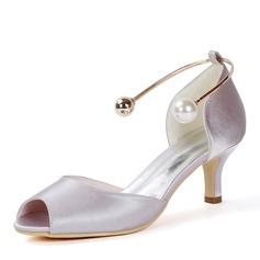 Women's Silk Like Satin Stiletto Heel Peep Toe Pumps With Imitation Pearl