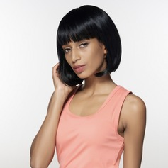 Straight Human Hair Blend Human Hair Wigs (219125386)