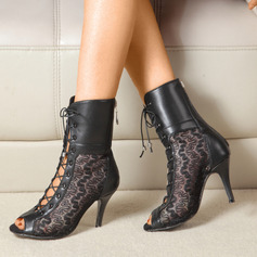 Women's Leatherette Boots Latin Jazz Dance Boots With Hollow-out Lace-up Dance Shoes