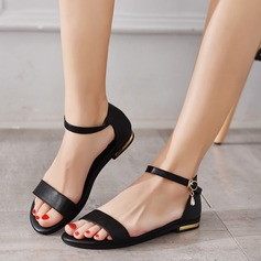 Women's Real Leather Flat Heel Sandals Flats Peep Toe With Buckle shoes