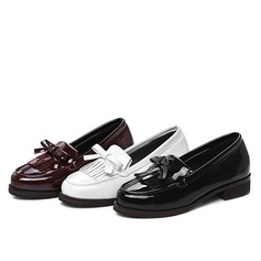Women's Patent Leather Flat Heel Flats Closed Toe With Bowknot Tassel shoes