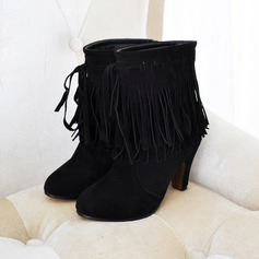 Women's Suede Chunky Heel Pumps Mid-Calf Boots With Tassel shoes