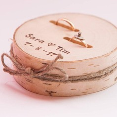 Personalized/Rustic Wood Ring Holder With Rustic Twine