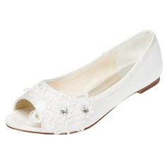 Women's Satin Flat Heel Peep Toe With Crystal Heel Crystal