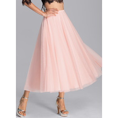 A-Line Tea-Length Tulle Bridesmaid Dress