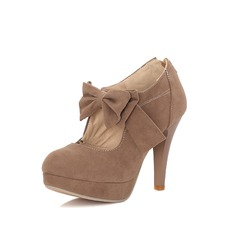 Women's Suede Pumps Platform Closed Toe With Bowknot shoes (117094387)