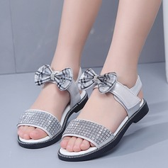 Girl's Peep Toe Leatherette Sandals Flats With Velcro Crystal