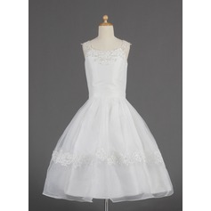 A-Line/Princess Tea-length Flower Girl Dress - Organza Sleeveless Scoop Neck With Lace/Beading/Sequins