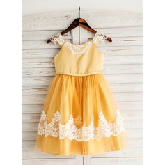 A-Line/Princess Tea-length Flower Girl Dress - Tribute silk/CVC Short Sleeves Scoop Neck With Lace/Appliques