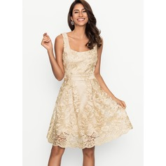 Polyester With Lace Above Knee Dress (199170486)