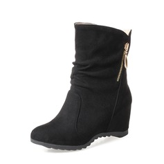 Women's Suede Wedge Heel Wedges Ankle Boots With Zipper shoes (088148233)